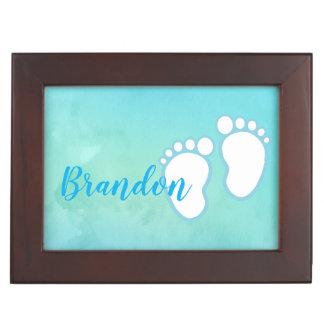 Blue Watercolor Footprint Little Baby Feet Name Keepsake Box