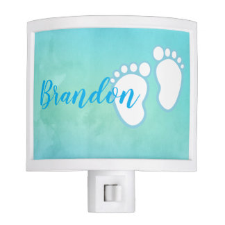 Blue Watercolor Footprint Little Baby Feet Name Night Lite