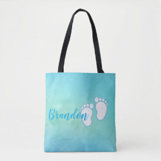 Blue Watercolor Footprint Little Baby Feet Name Tote Bag