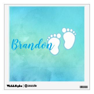 Blue Watercolor Footprint Little Baby Feet Name Wall Sticker