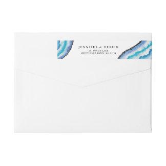 Blue Watercolor Geodes Wedding Wrap Around Label