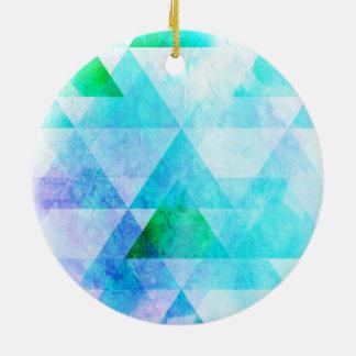 Blue Watercolor Geometric Pattern Ceramic Ornament