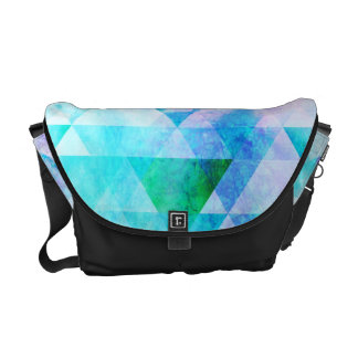 Blue Watercolor Geometric Pattern Commuter Bag