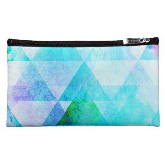 Blue Watercolor Geometric Pattern Cosmetic Bag