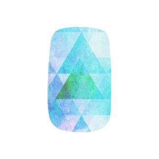 Blue Watercolor Geometric Pattern Minx Nail Art