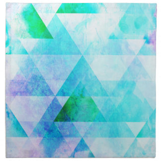 Blue Watercolor Geometric Pattern Napkin