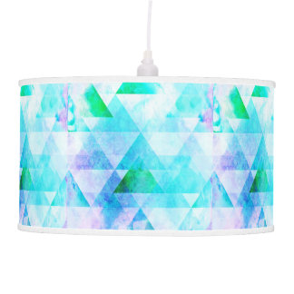 Blue Watercolor Geometric Pattern Pendant Lamp