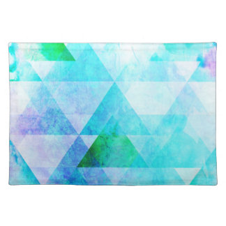 Blue Watercolor Geometric Pattern Placemat