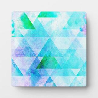 Blue Watercolor Geometric Pattern Plaque