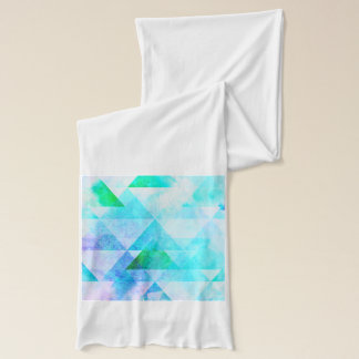 Blue Watercolor Geometric Pattern Scarf