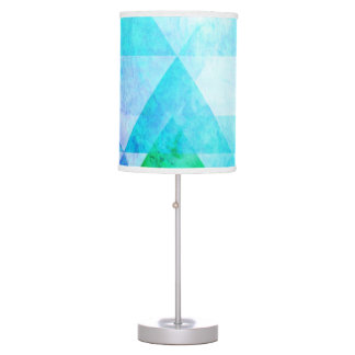 Blue Watercolor Geometric Pattern Table Lamp