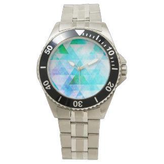 Blue Watercolor Geometric Pattern Watch