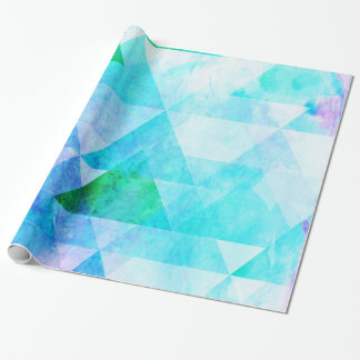 Blue Watercolor Geometric Pattern Wrapping Paper