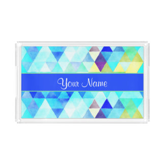 Blue Watercolor Geometric Triangles Acrylic Tray