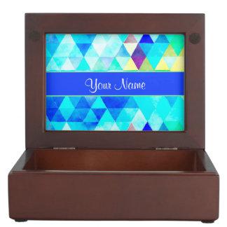 Blue Watercolor Geometric Triangles Keepsake Box
