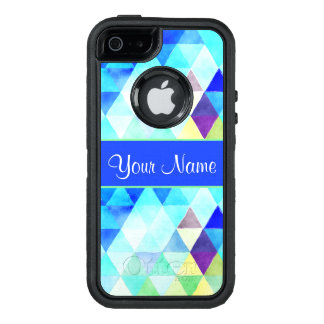Blue Watercolor Geometric Triangles OtterBox Defender iPhone Case