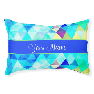 Blue Watercolor Geometric Triangles Pet Bed