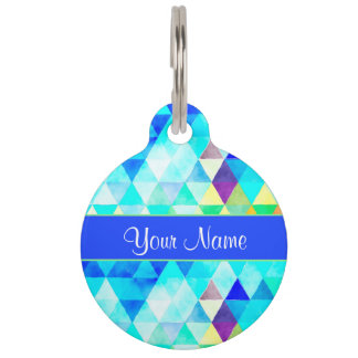 Blue Watercolor Geometric Triangles Pet ID Tag
