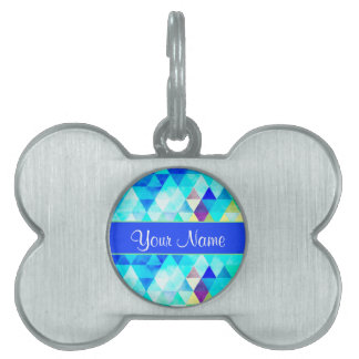 Blue Watercolor Geometric Triangles Pet Tag