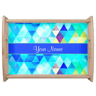Blue Watercolor Geometric Triangles Serving Tray