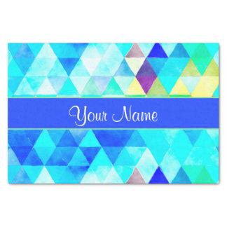 Blue Watercolor Geometric Triangles Tissue Paper