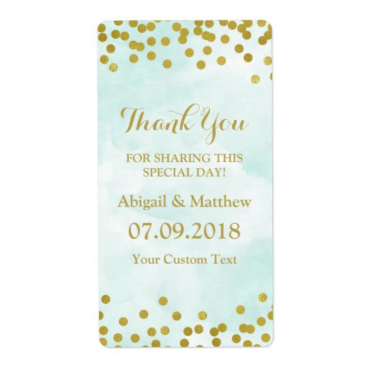 Blue Watercolor Gold Confetti Wedding Labels