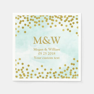 Blue Watercolor Gold Confetti Wedding Napkin Paper Napkin