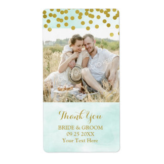 Blue Watercolor Gold Dots Photo Wedding Label