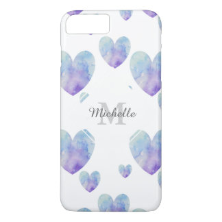 Blue Watercolor Hearts Pattern iPhone 7 Plus Case