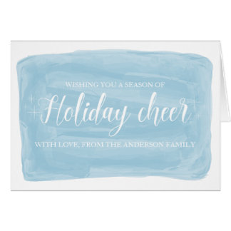 Blue Watercolor Holiday Cheer Card
