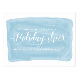 Blue Watercolor Holiday Cheer Postcard