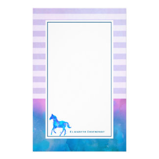 Blue Watercolor Horse on Horizontal Stripes Stationery