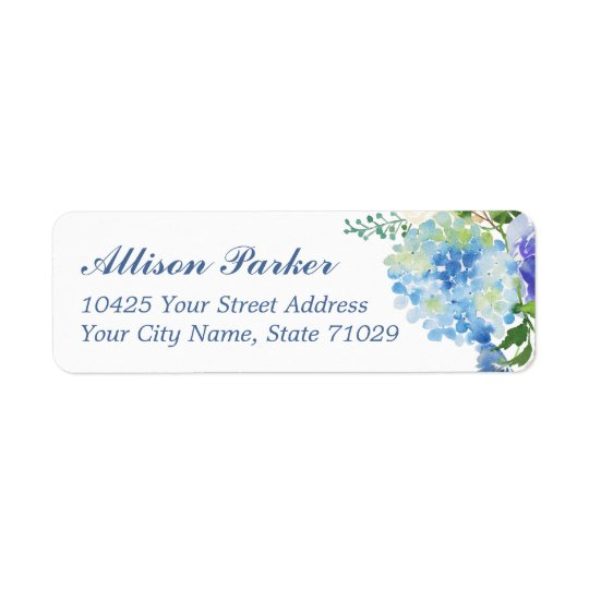 Blue Watercolor hydrangea Address Labels