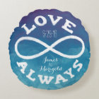 Blue Watercolor Infinity Love Wedding Date, Names Round Pillow