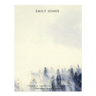 BLUE WATERCOLOR LANDSCAPE TREE FOLIAGE MONOGRAM LETTERHEAD