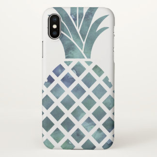 Blue Watercolor Look Pineapple iPhone X Case