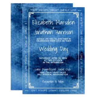 Blue Watercolor Love Modern Elegant Wedding Card