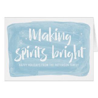 Blue Watercolor Making Spirits Bright Holiday Card