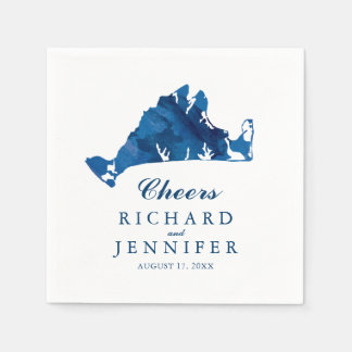 Blue Watercolor Martha's Vineyard Map Wedding Disposable Napkin