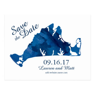 Blue Watercolor Martha's Vineyard Save the Date Postcard