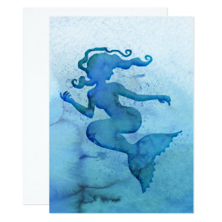 Blue Watercolor Mermaid Card