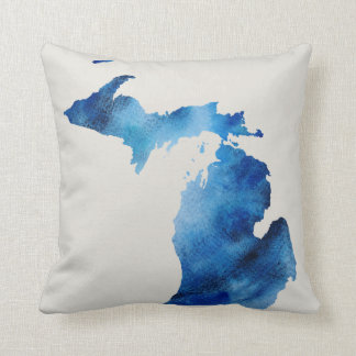 Blue Watercolor Michigan Silhouette | Customize It Throw Pillow