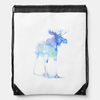 Blue watercolor Moose illustration Drawstring Bag