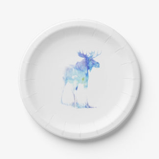 Blue watercolor Moose illustration Paper Plate