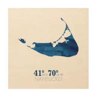 Blue Watercolor Nantucket Map with Coordinates Wood Wall Art