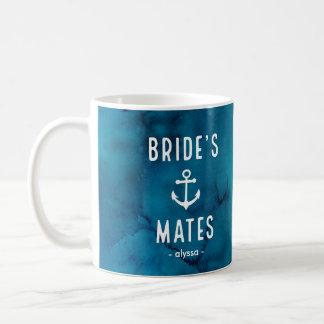 Blue Watercolor Nautical Brides Mates Coffee Mug