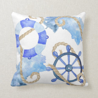 Blue watercolor nautical design with rope, beach throw pillow