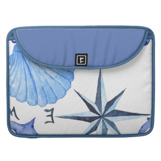 Blue watercolor nautical design with shell, anchor sleeve for MacBook pro