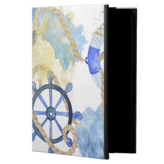 Blue watercolor nautical design with shell, beach iPad air cover