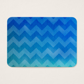 Blue Watercolor Ombre Chevron Business Card
